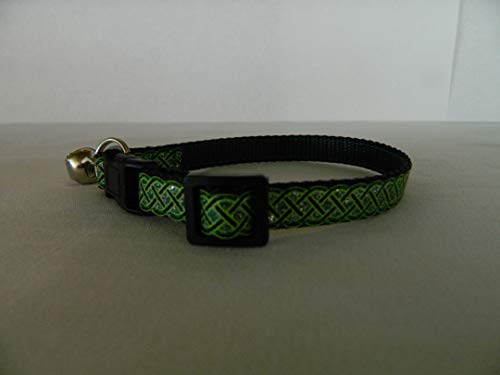 Schmoopsie Couture St Patrick's Day Black and Emerald Celtic Knots Kitten/Cat Collar (cat 8