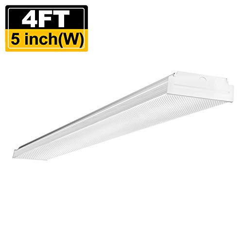 Around Wrap Light Fluorescent (AntLux 4FT LED Wraparound, LED Garage Lights 4 Foot, 4400lm, 4000K Neutral White, Low Profile Linear Flush Mount Office Ceiling Shop LED Wrap Light, Fluorescent Lighting Fixture Replacement)