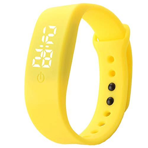 Estelle-tong Led Sports Children's Watch Student Leisure Outdoor 24-Hour Digital Display Calendar White Light Silicone Bracelet Watch,Yellow