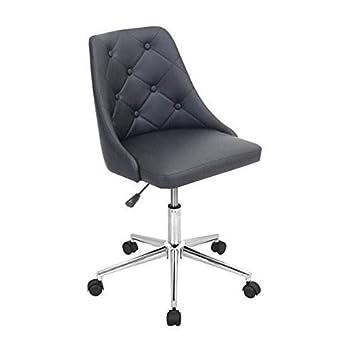 WOYBR OFC BK Pu, Foam, Chrome Marche Office Chair, 24Lx22.75Wx35H, Black