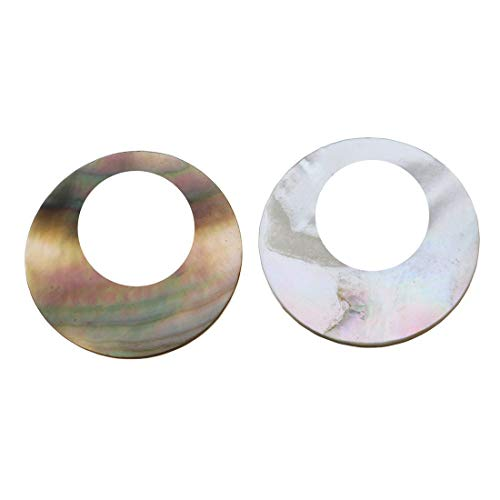 2pcs Iris Brown White Round Coin Abalone Shell Lentil Disc Disk Mother of Pearl Seashell Natural Charm Earring Pendant Bohemian Jewelry ()