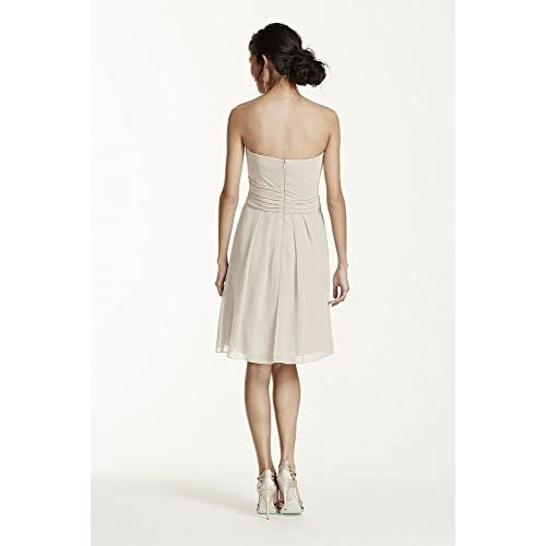 2e3dc0eaf21 Short Crinkle Chiffon Bridesmaid Dress with Front Cascade Style F14847 30% OFF