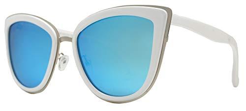 PZ Polarized - Women Cat Eye Metal Bridge Design Mirror Sunglasses (White + Ice Blue Mirror Lens)