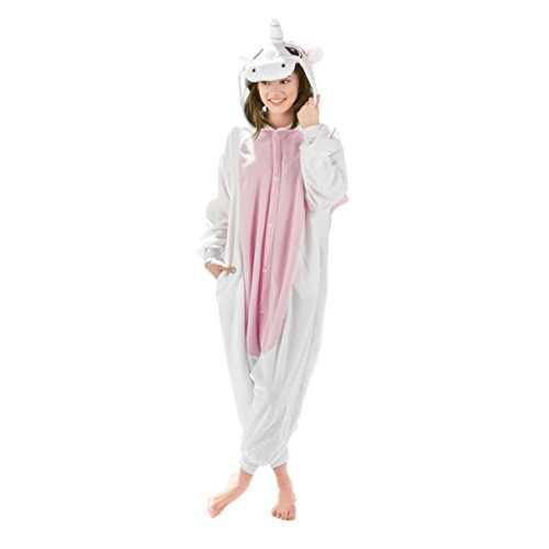 Emolly Fashion Adult Unicorn Animal Onesie Costume Pajamas for Adults and Teens (X-Large, Pink/White)]()