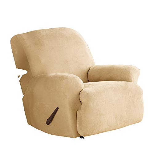 SureFit Stretch Suede - Recliner Slipcover - Camel (Cushions Shaped Chair T)