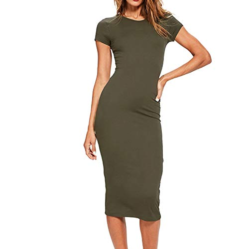 Sexy Midi Women's Dress Short Sleeve O Neck Casual Evening Party Bodycon Dress Clubbing Cocktail Party Toponly