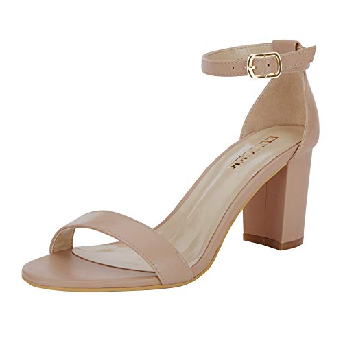 le Band Classic Chunky Block High Heel Sandals with Ankle Strap Dress Shoes (Nude) ()