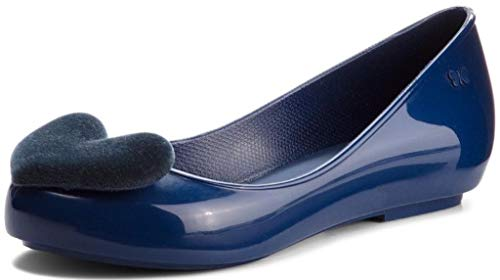 Pop Heart Navy Flock Womens Zaxy Shoes Ballerinas Flats 41qdw4a5x