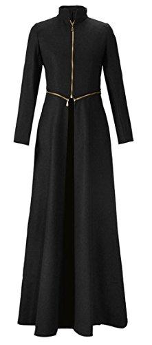 Kearia Women Elegant Long Sleeves Full length Woolen Blend Long Trench Coat Jacket Black (5800 Labels)