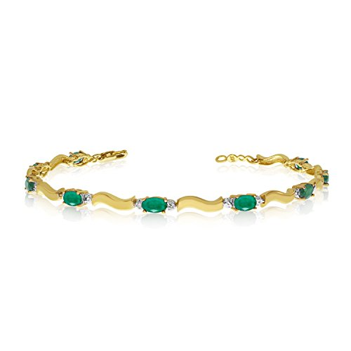2.70 Carat (ctw) 14k Yellow Gold Oval Green Emerald and Diamond Tennis Bracelet - 7