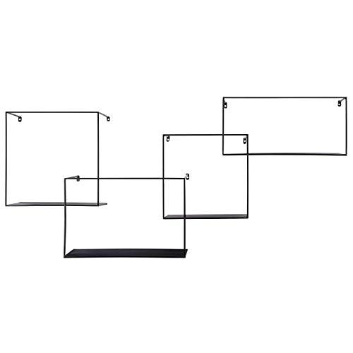 Kimisty Set of 4 Metal Intersecting Floating Shelves, Decorative Large Square Wall Mounted Shelf, Free Floating Shelves, Shadow Box Style Deep Black Metal Shelving (Shelf Squares)