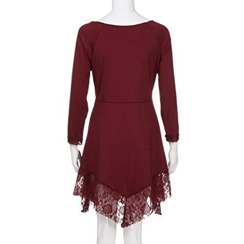 Costume Long Col Baggy Tops Haut Dentelle Chemisiers Longue Manches Elgante O Oversize Printemps Chic Femme pissure Automne Shirts Rouge Fashion Unicolore Ourlet 6zXzv0W