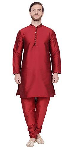 SKAVIJ Men's Tunic Art Silk Kurta Pajama Set Ethnic Indian Wear (X-Large, Red)
