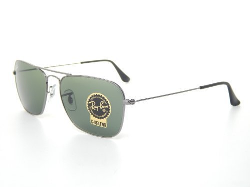 Ray Ban Caravan RB3136 004 Gunmetal/Green Classic G-15 Sunglasses - Rb3136 Ban Ray Caravan