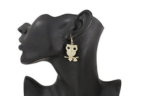 TFJ Women Fashion Hook Earrings Set Gold Metal Cute White Owl Birds Branch (Madonna Material Girl Fancy Dress)