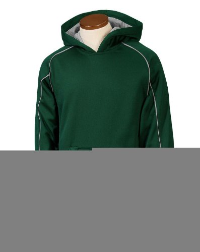 (Russell Athletic 955EFB Youth Tech Fleece Pullover Hood - Dark Green/Steel - L)