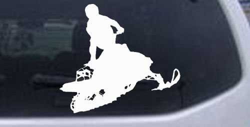 6in X 5.4in White -- Snowmobile Trick Sports Car Window Wall Laptop Decal Sticker