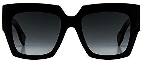 Fendi Women's Square Colorblock Sunglasses, Black/Dark Grey, One Size from Fendi