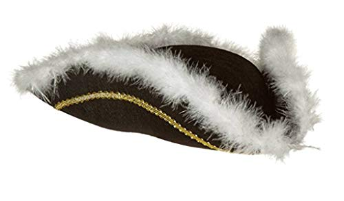 Jacobson Hat Company Men's Permalux Tricorne with Feather Trim, Black, One Size