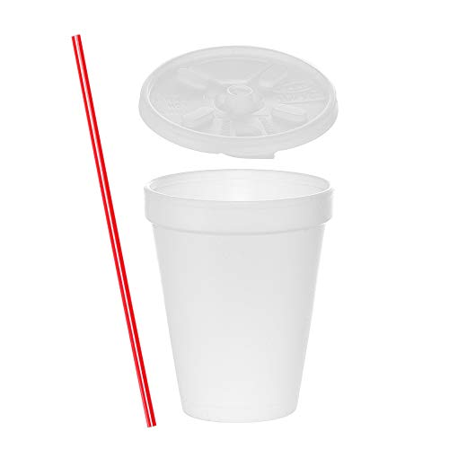 (100 Sets) 12 oz White Foam Cups with Lift'n'Lock Lids and BONUS Stirrers, Disposable Foam Drink Cups, To Go Coffee Cups, Insulated Foam Cups for Hot/Cold Drinks byTezzorio