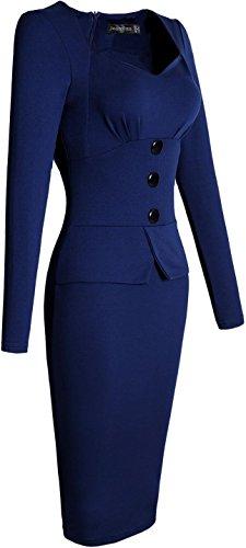Jeansian Mujer Vestidos de noche vestidos de manga larga elegante Slim Fit l¨¢piz Bodycon Dress WKD217 Navy
