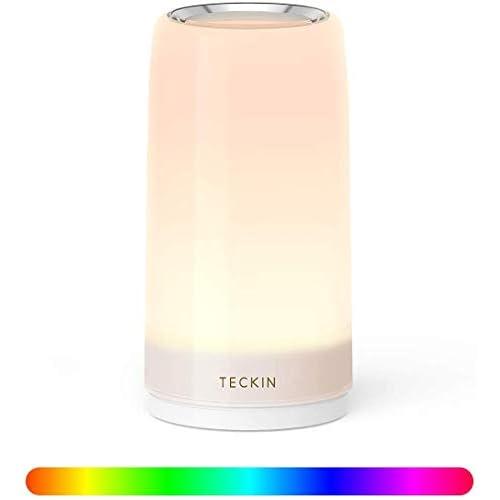 chollos oferta descuentos barato Lampara Mesilla de Noche Luz Nocturna LED Lámpara de Mesa Control Tactil Regulable TECKIN Lámpara de Tabla de Decoración con Modo RGB y Luz Blanca Caliente 256 Luces de Color