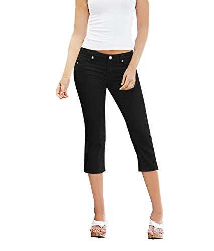 - HyBrid & Company Women's Perfectly Shaping Stretchy Denim Capri Q19410X Black 14
