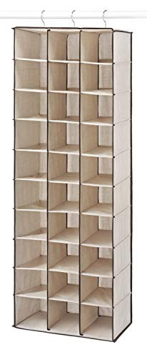 (Whitmor Hanging Shoe Shelves - 30 Section - Closet Organizer - Canvas)