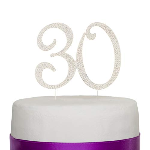 Ella Celebration 30 Cake Topper for 30th Birthday or Anniversary Silver Crystal Rhinestone Party Decoration (Silver)