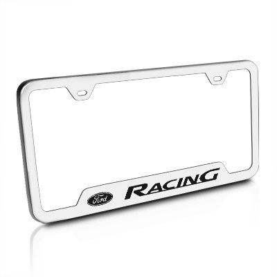 Au-Tomotive Gold, INC. License Plate Frame for Ford Racing Stainless Steel Brushed Chrome - GF.FORR.ES ()