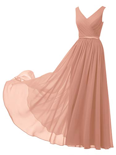 Alicepub V-Neck Chiffon Bridesmaid Dress Long Party Prom Evening Dress Sleeveless, Peach Pink, - Bridesmaids Gown Peach Formal