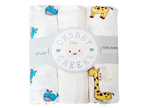 (100% Bamboo Baby Swaddle Blanket by Chubby Cheeks - Extra Soft Receiving Blanket with Unisex Animal Print Patterns for Baby Girls and Baby Boys 3-pk)
