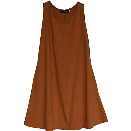 SANCABA Women Sleeveless Cotton Solid Dress Beach Cover Up Basic Casual Round Neck Loose Tank A-Line with Pockets