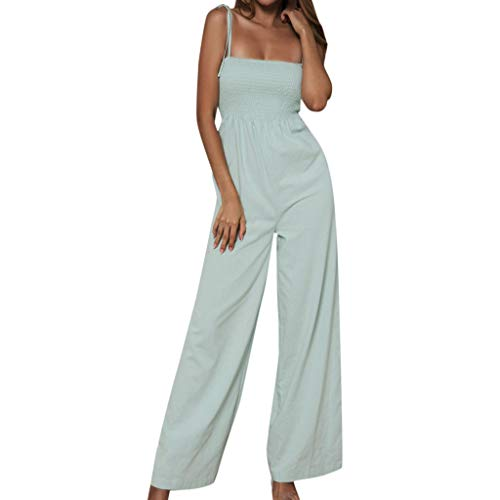 (Aniywn Women's Floral Jumpsuit Strap Sling Sleeveless Wide Leg Pants Casual Jumpsuits Rompers Green)