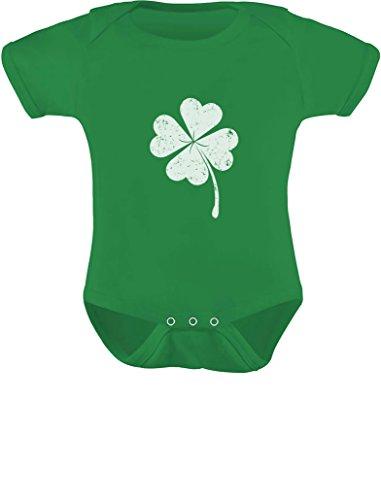 St. Patrick's Distressed Clover - Lucky Shamrock Baby Bodysuit 6M Green