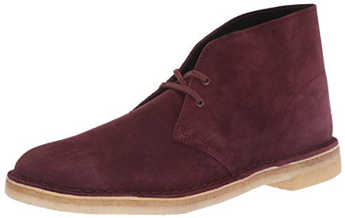 CLARKS Men's Desert Chukka Boot, Bordeaux Suede, 085 M US