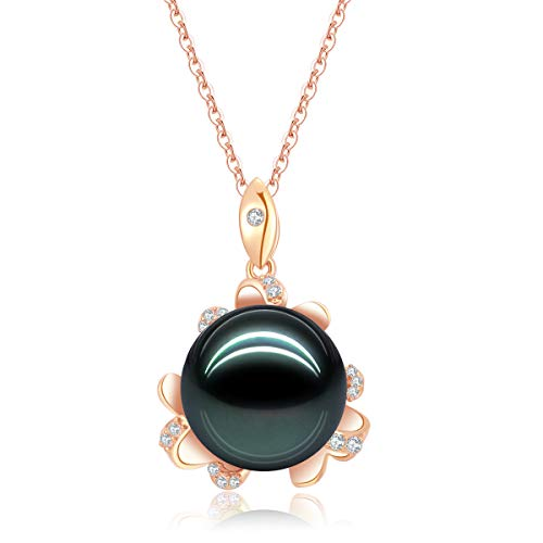 (18K Gold Round Diamond Necklace 12mm Natural Black Tahitian South Sea Pearl Blossom Pendant for Women with 18