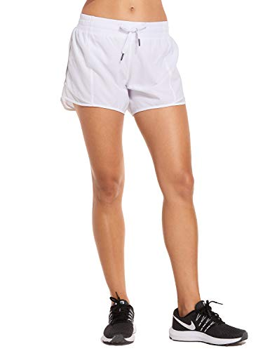 CRZ YOGA Women's Drawstring Fitness Athletic Sports Running Shorts with Pocket - 4 inch White 4'' - R404 XS(0/2)