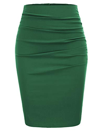 (GRACE KARIN Womens Bodycon Club Knee Length Ruched Pencil Skirt Size 2XL,Green)