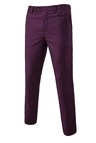 Negocios Moda Fit Traje Casuales Frente Los De Plano Slim La Modelo Battercake Sólido Grape Cómodo Largos Hombres Pantalones Color EXSqTqxP