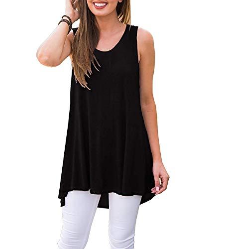 Oritina Women's Summer Sleeveless Peplum Tops Casual U Neck Criss Cross Irregular Hem Tank Tops Summer Tunics YL-Black M