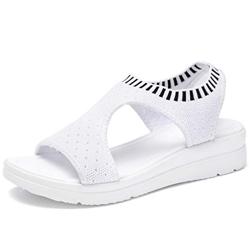(JJLIKER Womens Mesh Hollow Breathable Shoes Peep Toe Chunky Platform Wedges Sandals Summer Stretch Slip-On Shoes White)