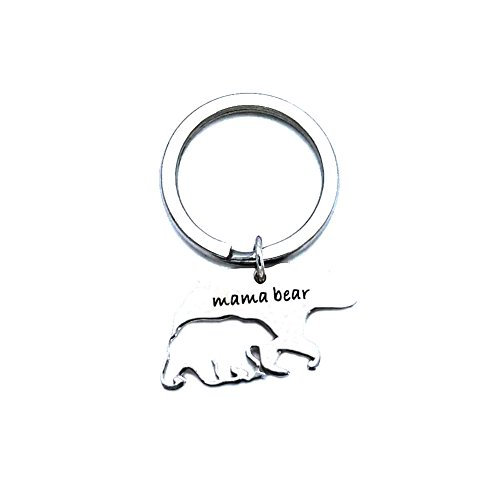 Romanticworks Sweet Mama Bear Keychain Mother Jewelry Stamped Tag for Mom (Hollow Mama Bear) (Bear Hollow)