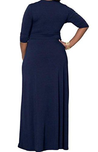 Coolred-femmes, Plus Maxi Taille Confortable Soirée Solide Grand Ourlet Robe Bleu Violacé