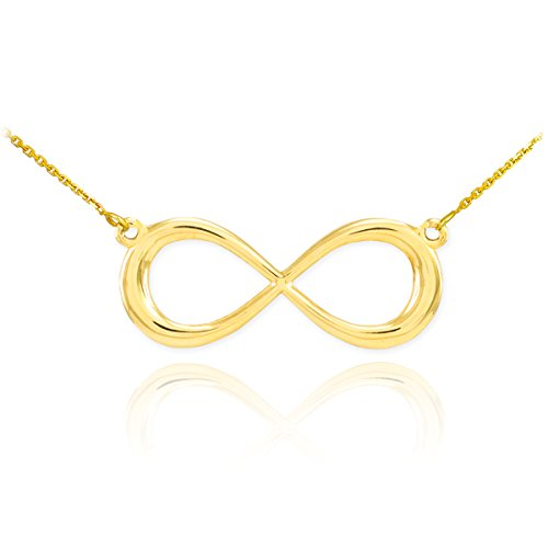 High Polish 14k Yellow Gold Dainty Forever Infinity Necklace with 16