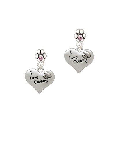 Chef Pink Hearts - I love Cooking Heart with Chef Hat - Pink Crystal Paw Earrings