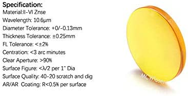 15 mm FL MCWlaser CVD II-VI Lente ZNSE Lente CO2 Grabador l/áser Cortador 40W 50W 60W 80W 100W 130W 150W 180W 200W Di/ámetro 125.4 mm