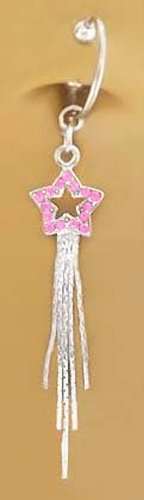 Fake Belly Navel Non Clip on Piercing Pink Long Shooting Star Dangle Ring (Dangle Pink Star)