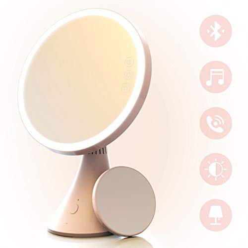 Babyltrl Lighted Vanity Makeup Mirror Rechargeable, Touch Screen and 1x 5x Magnification Mirror with Bluetooth Speakerphone