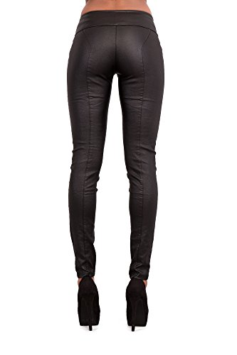 mujer Vaqueros para Leather LustyChic Look Sexy Black E0AEdq